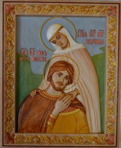 Резная икона Петра и Февронии Муромских 9