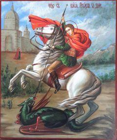 Рукописная икона Георгий Победоносец живопись