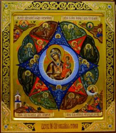 Икона Неопалимая Купина с резьбой и узорами