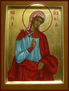 Рукописная икона Святая Агафия