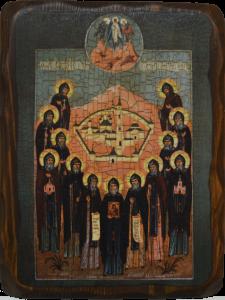 Икона состаренная Собор Оптинских старцев