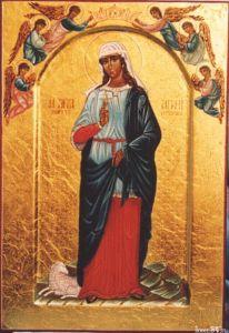 Рукописная икона Святая Агния