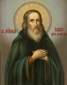 Рукописная икона Исаакий Затворник Печерский