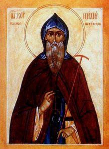 Рукописная икона Корнилий Псково-Печерский