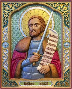 Резная икона Александр Невский