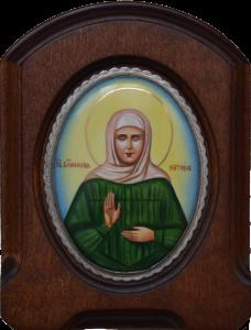 Икона из финифти Матрона Московская