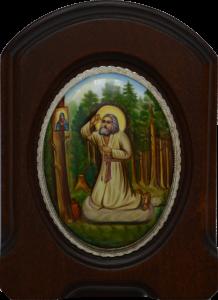 Икона из финифти Моление Серафима Саровского на камне (Размер 11*14 см)