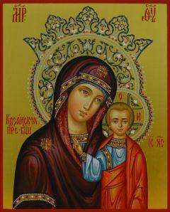 Рукописная Казанская икона с короной