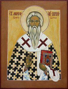 Рукописная икона Митрофан Константинопольский