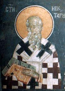 Рукописная икона Нектарий Константинопольский