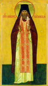 Рукописная икона Никон Оптинский