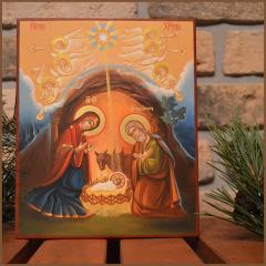 Рукописная икона Рождество Христово 2