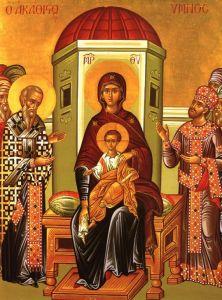 Рукописная Акафистная икона Божией Матери
