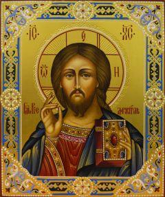 Рукописная икона Спас Вседержитель с резьбой