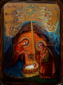 Икона состаренная Рождество Христово