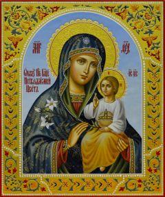 Рукописная икона Неувядаемый Цвет с резьбой