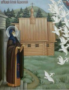 Рукописная икона Сергия Радонежского Чудо о птицах