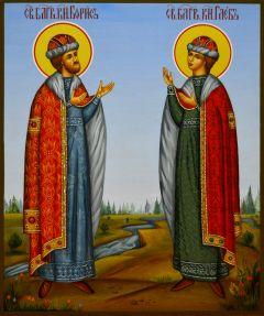 Рукописная икона Святые Борис и Глеб