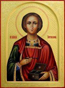 Рукописная икона Пантелеймон Целитель резьба
