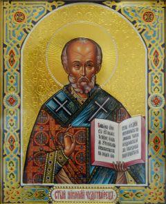 Рукописная икона Николай Чудотворец в киоте с сусальным золотом