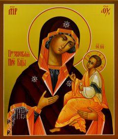 Рукописная икона Грузинской Божией Матери