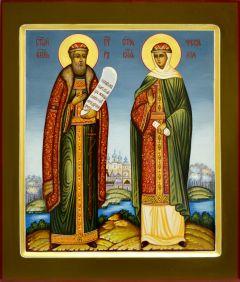 Рукописная икона Петр и Феврония Муромские 25 (Размер 27*31 см)