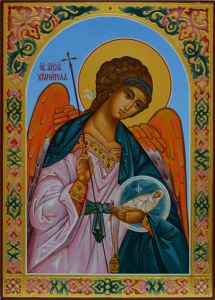 Рукописная икона Ангел с Душой резьба