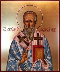 Рукописная икона Амвросий Медиоланский