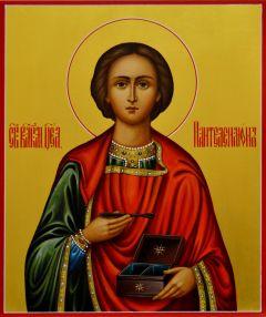 Рукописная икона Пантелеймона Целителя