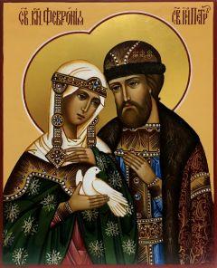 Рукописная икона Петр и Феврония с голубем 24