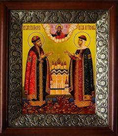 Рукописная икона Петр и Феврония золото 21