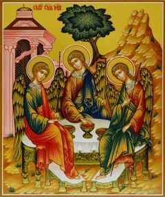 Рукописная икона Святая Троица
