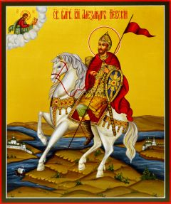 Рукописная икона Александр Невский на коне