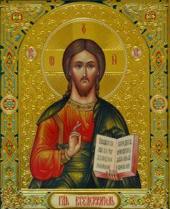 Рукописная икона Господь Вседержитель 3 в киоте
