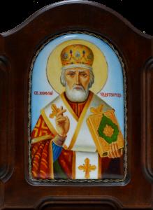 Икона из финифти Николай Чудотворец 2