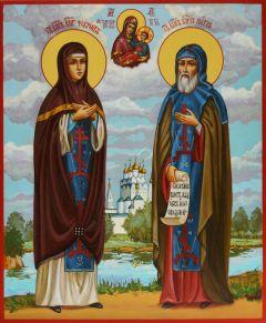 Рукописная икона Петр и Феврония живопись 40