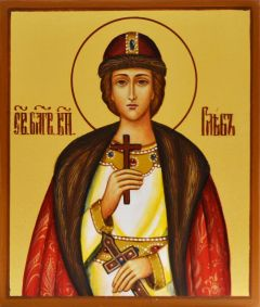 Рукописная икона Глеб благоверный князь