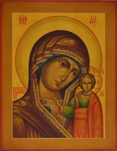Рукописная икона Казанская под старину