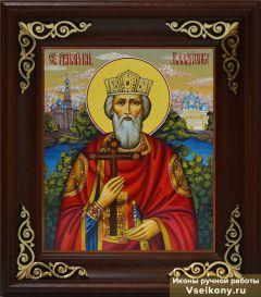 Рукописная икона князь Владимир живопись (Размер 17*21 см)