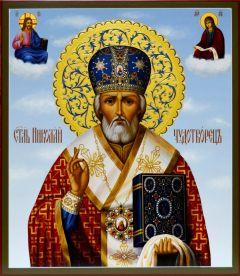 Рукописная икона Николай Чудотворец 7