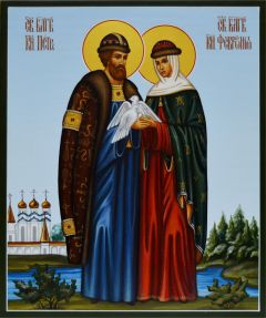 Рукописная икона Петр и Феврония с голубями в руках 20