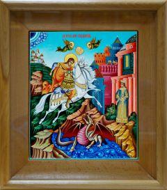 Рукописная икона Чудо Георгия о змие 5 (Размер 27*31 см)