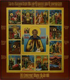 Рукописная икона Сергий Радонежский с Житием