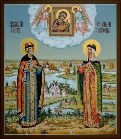 Рукописная икона Петр и Феврония с пейзажем 47 (Размер 27*31 см)