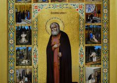 Рукописная икона Серафим Саровский с Житием