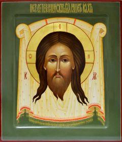 Рукописная икона Спас Нерукотворный 4 (Размер 27*31 см)