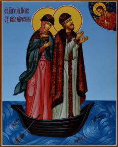 Рукописная икона Петр и Феврония в ладье 49