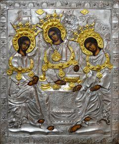 Рукописная икона Святая Троица с окладом (Размер 18*21 см)