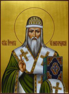 Рукописная икона Нифонт Новгородский Печерский