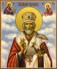 Рукописная икона Николай Чудотворец с ладьей 9
